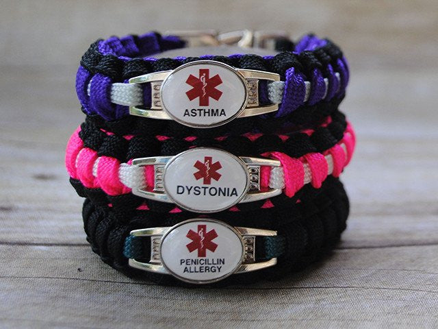 2-Charm Medical ID Paracord Bracelet