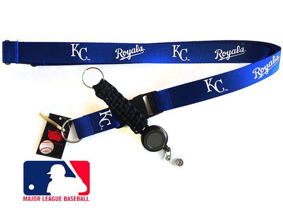 Officially Licensed MLB Kansas City Royals Lanyard with Paracord Badge Reel Attachment