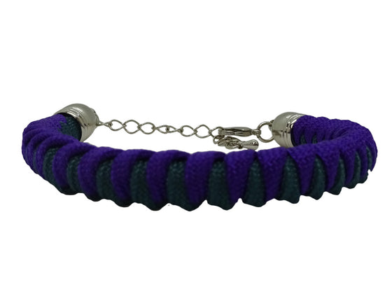 "Acid Purple and Teal Lady Luck Paracord Bracelet (with Hanging ""We Remember"" Charm Option)"