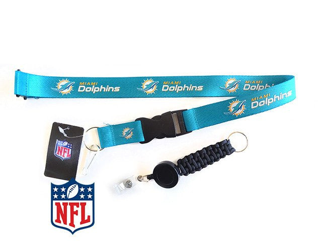 Officially Licensed NFL Miami Dolphins Lanyard with Paracord Badge Reel Attachment