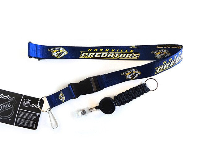 Officially Licensed NHL Nashville Predators Lanyard with Paracord Badge Reel Attachment