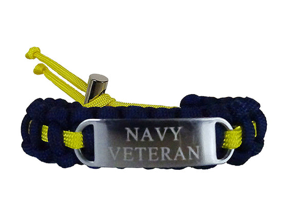 Engraved Stainless Steel Navy Veteran Paracord Bracelet