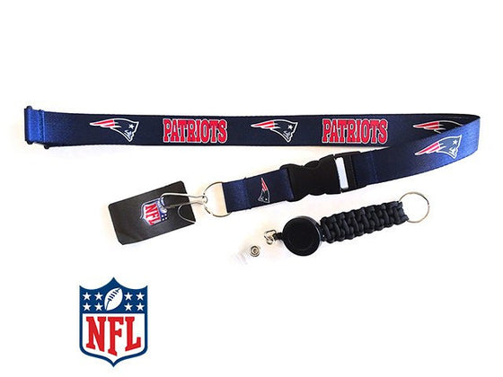 Officially Licensed NFL New England Patriots Lanyard with Paracord Badge Reel Attachment