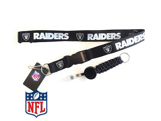 Officially Licensed NFL Oakland Raiders Lanyard with Paracord Badge Reel Attachment