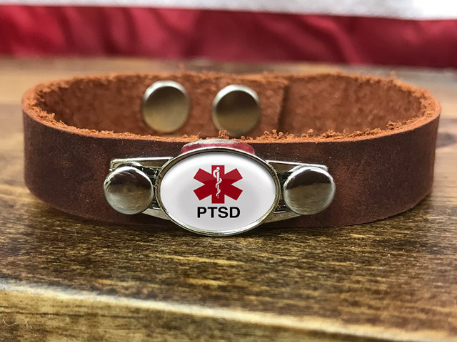 PTSD Medical ID Leather Bracelet