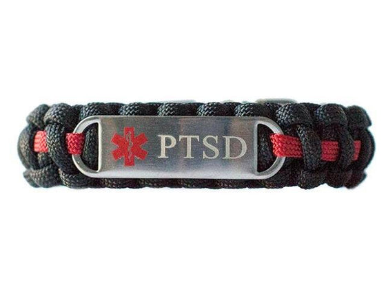 Engraved Stainless Steel PTSD Medical ID Paracord Bracelet