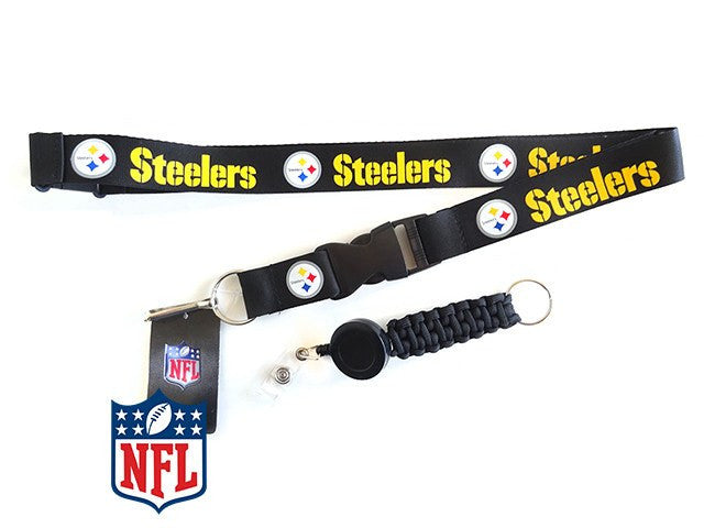 Officially Licensed NFL Pittsburgh Steelers Lanyard with Paracord Badge Reel Attachment