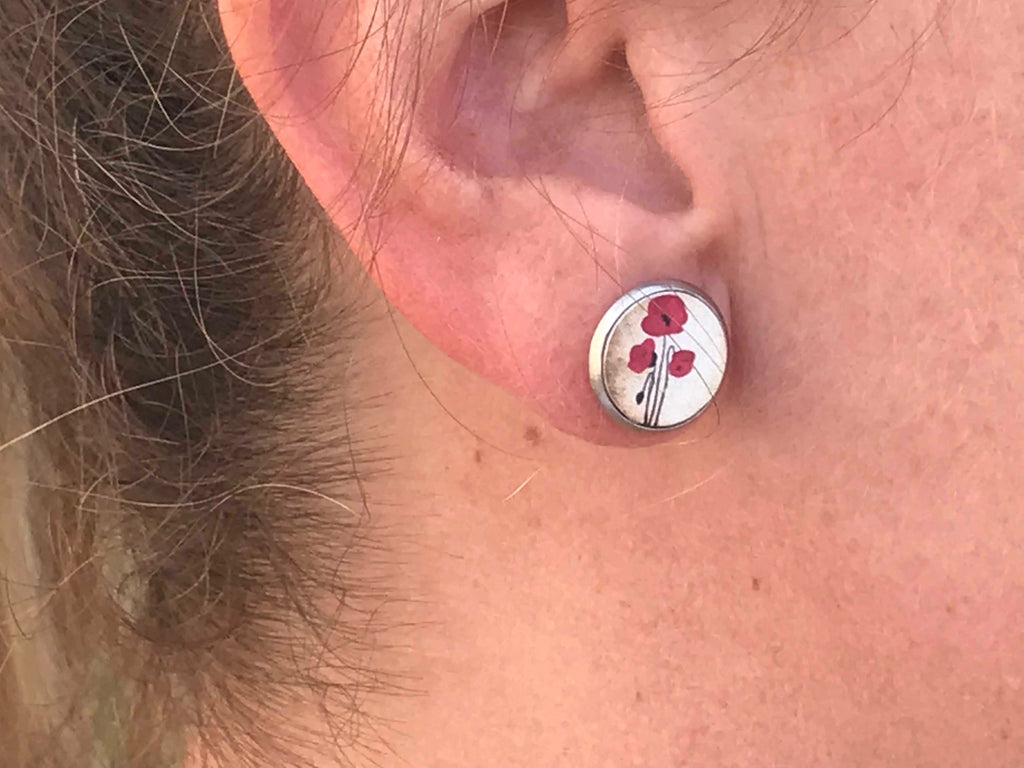 Poppy Cabochon Earring with Silver Edging