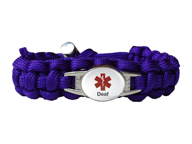 Medical ID Hearing Impaired Paracord Bracelet