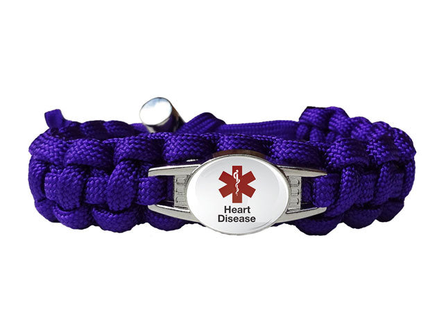 Medical ID Heart Disease Paracord Bracelet