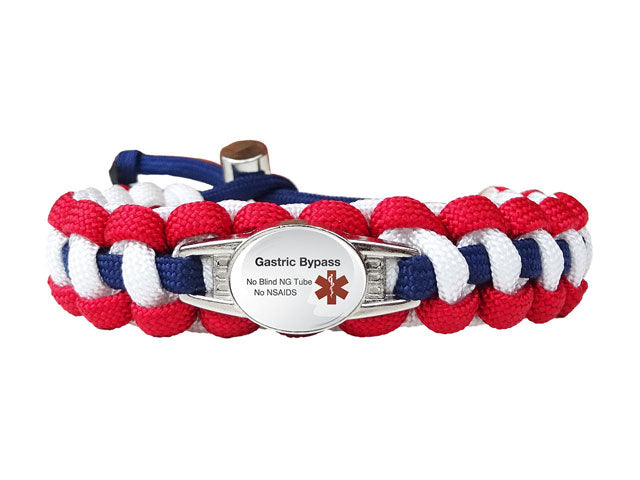 Medical ID Gastric Bypass Paracord Bracelet