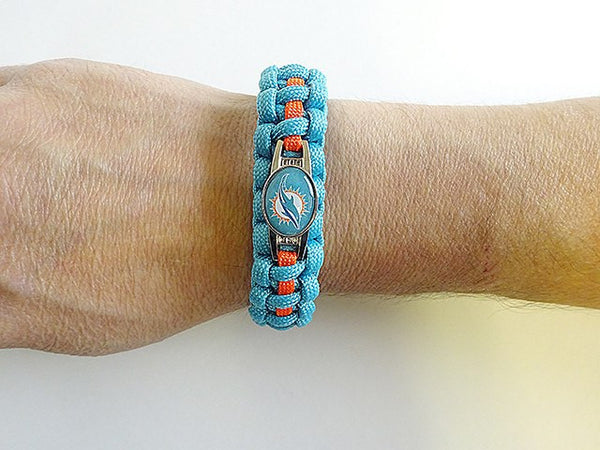 handmade by heros officially licensed nfl miami dolphins paracord bracelet 4011