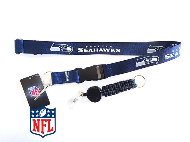 Officially Licensed NFL Seattle Seahawks Lanyard with Paracord Badge Reel Attachment