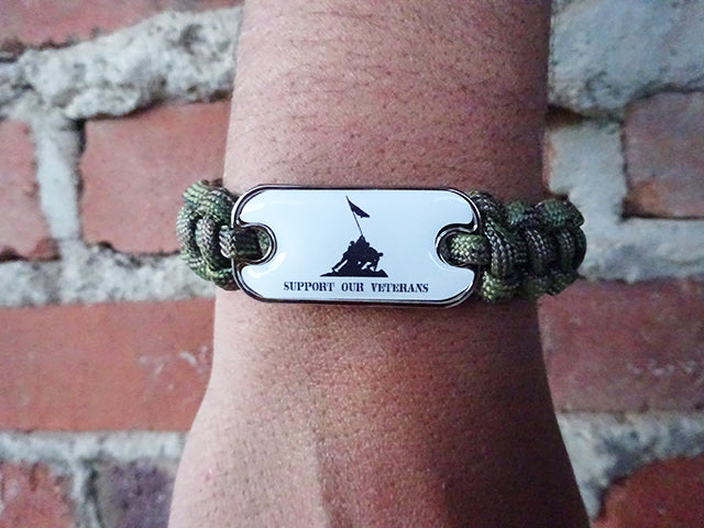 Support Our Veterans Dog Tag Paracord Bracelet