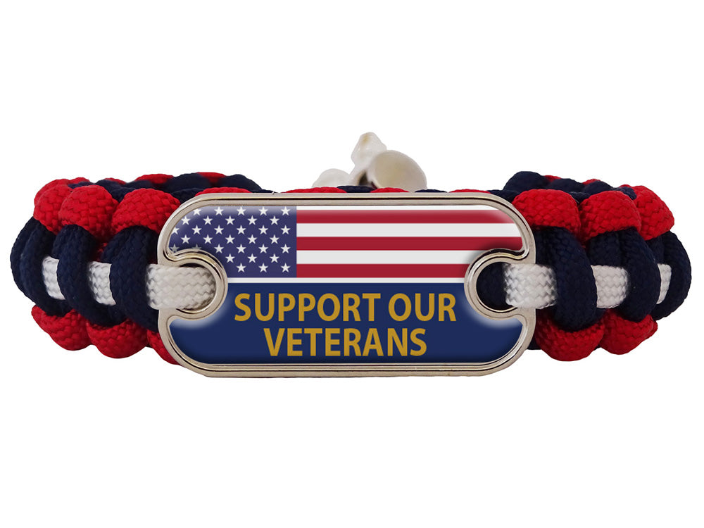 Support Our Veterans US Flag Dog Tag Paracord Bracelet