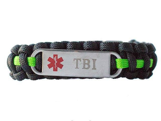 Engraved Stainless Steel TBI Medical ID Paracord Bracelet