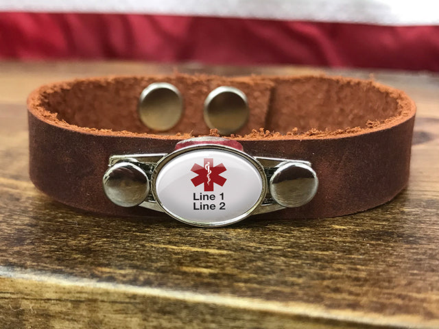 Customizable Medical ID Leather Bracelet - 2 Lines