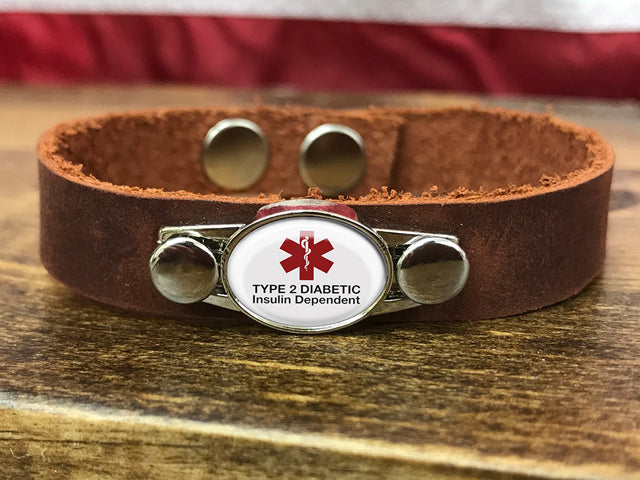 Diabetic Medical ID Leather Bracelet