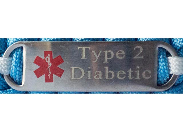 Diabetic Medical ID Leather Bracelet with Engraved Stainless Steel Tag
