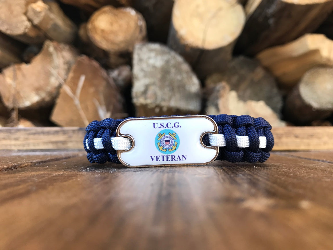 Coast Guard Veteran Dog Tag Paracord Bracelet