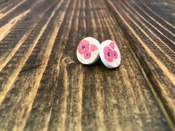 Wooden Studded Poppy Cabochon Earring 15mm