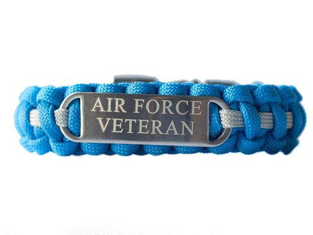 Engraved Stainless Steel Air Force Veteran Paracord Bracelet