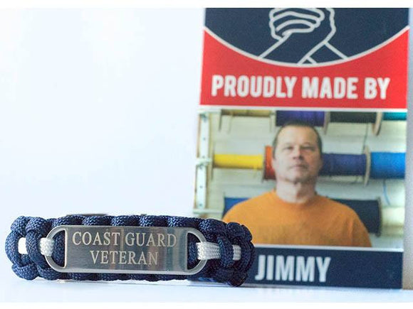Engraved U.S. Coast Guard Veteran Paracord Bracelet - Limited Stock Sale