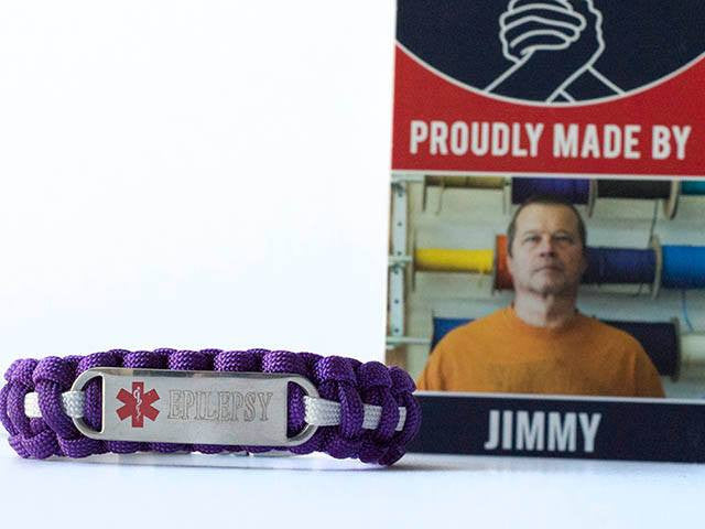 Engraved Stainless Steel Epilepsy Medical ID Paracord Bracelet