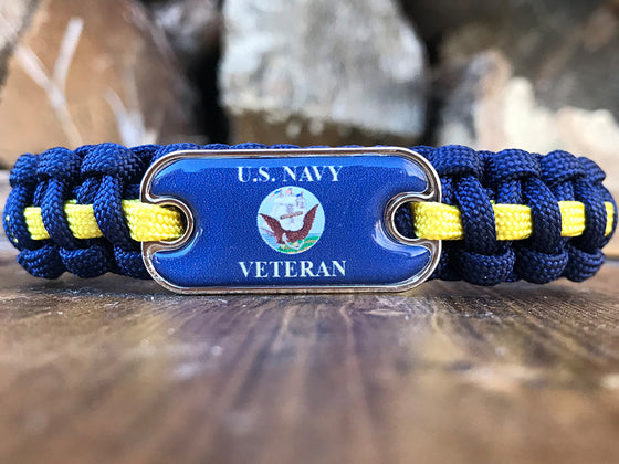 US Navy Veteran Dog Tag Paracord Bracelet