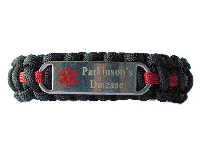 Engraved Stainless Steel Parkinson's Disease Medical ID Paracord Bracelet