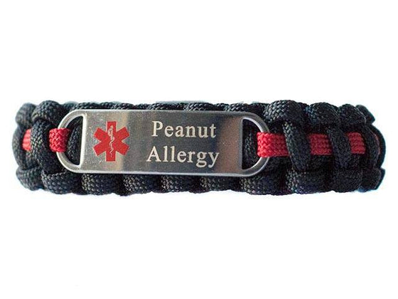 Engraved Stainless Steel Peanut Allergy Medical ID Paracord Bracelet