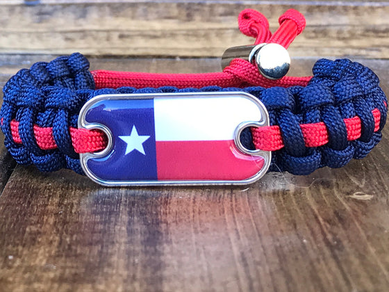 Texas Flag Dog Tag Paracord Bracelet