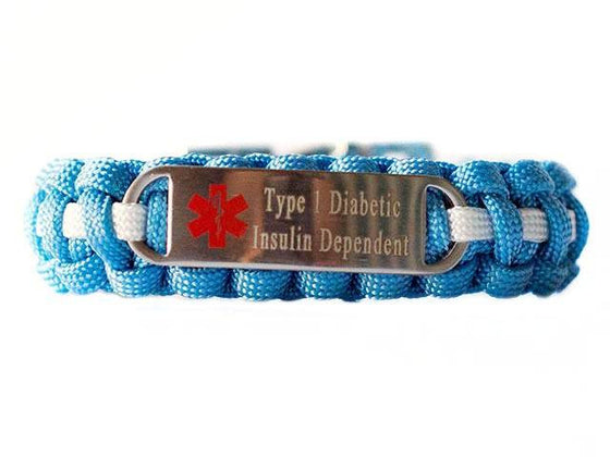 Engraved Stainless Steel Type 1 Diabetic Insulin Dependent Medical ID Paracord Bracelet