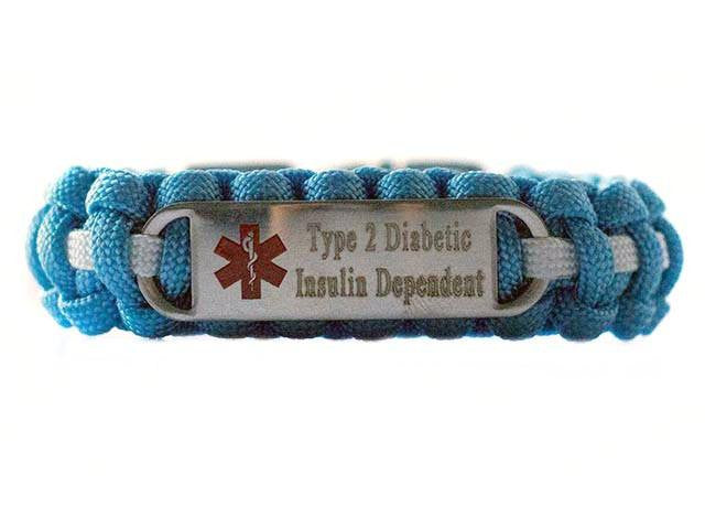 Engraved Stainless Steel Type 2 Diabetic Insulin Dependent