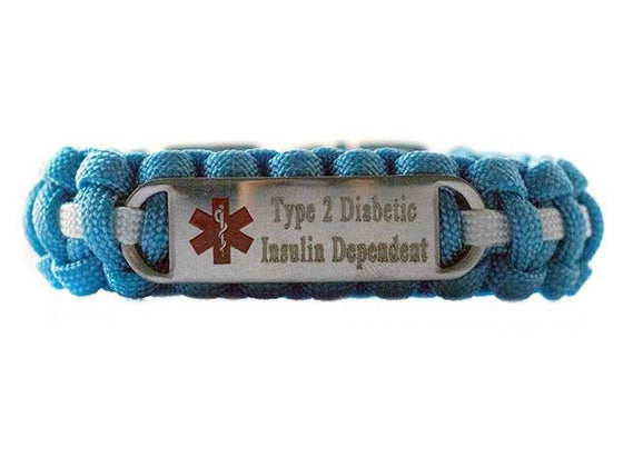 Engraved Stainless Steel Type 2 Diabetic Insulin Dependent Medical ID Paracord Bracelet