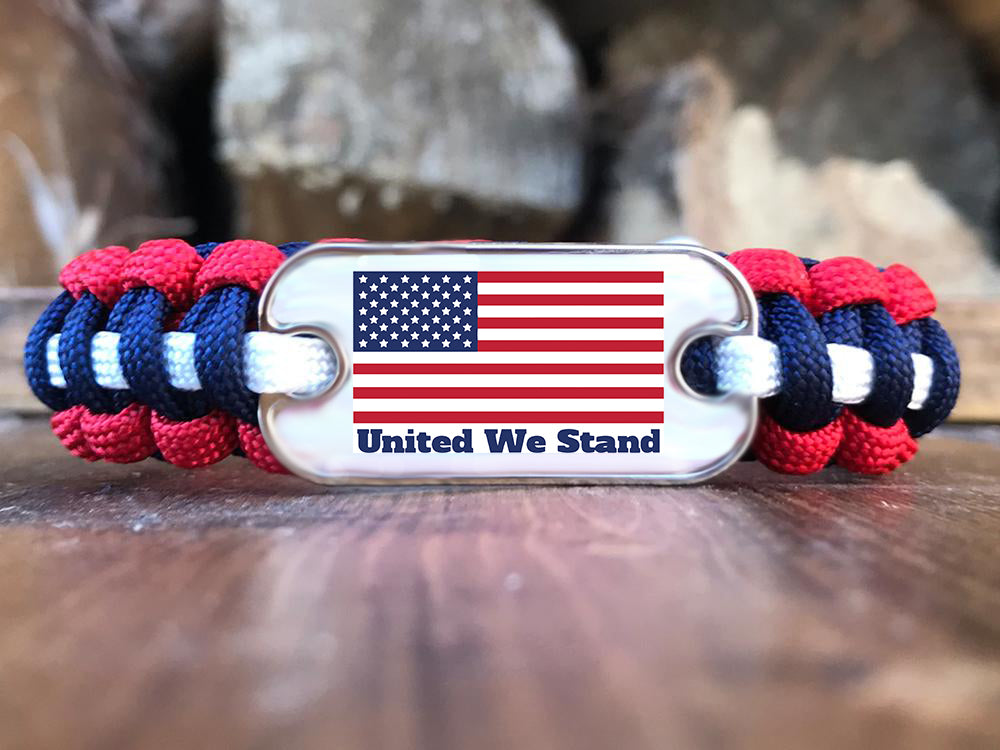 United We Stand Dog Tag Paracord Bracelet