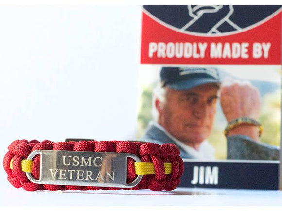 Engraved Stainless Steel USMC Veteran Paracord Bracelet