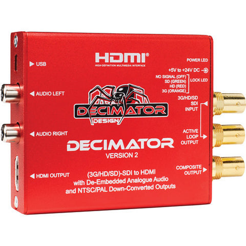 Decimator2 (Miniature (3G/HD/SD)-SDI to HDMI with De-Embedded Analogue Audio)