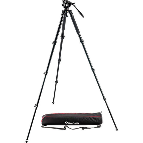 Tripod - Manfrotto MVK500AQ | Spreaderless Video Tripod with MVH500A Fluid Head - Vizcom Technologies - 1