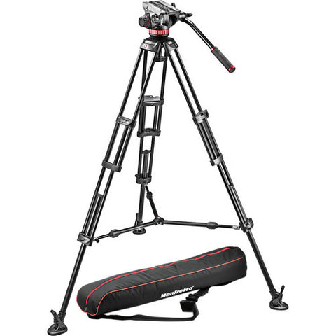 Tripod - Manfrotto MVH502A Fluid Head + 546B Tripod System with Carry Bag - Vizcom Technologies - 1