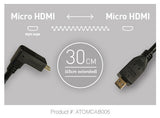 Cable - Coiled Right-Angle Micro to Micro HDMI Cable (30cm-45cm) - Vizcom Technologies - 1
