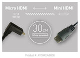 Cable - Coiled Right-Angle Micro to Mini HDMI Cable (30cm-45cm) - Vizcom Technologies - 1