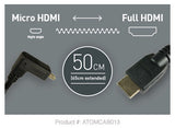 Cable - Coiled Right-Angle Micro to Full HDMI Cable (50cm) - Vizcom Technologies
