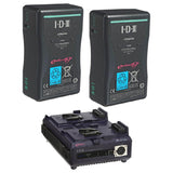 Battery & Charger - 2x IDX E-HL9S Batteries and 1x VL-2PLUS 2-Channel Sequential Quick Charger - Vizcom Technologies