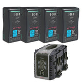 Battery & Charger - 4x IDX E-HL9S Batteries and 1x VL-4S 4-Channel Simultaneous Quick Charger - Vizcom Technologies