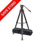 Sachtler System FSB 4 Fluid Head + Flowtech 75 Carbon Fiber Tripod with Mid-Level Spreader + Rubber Feet