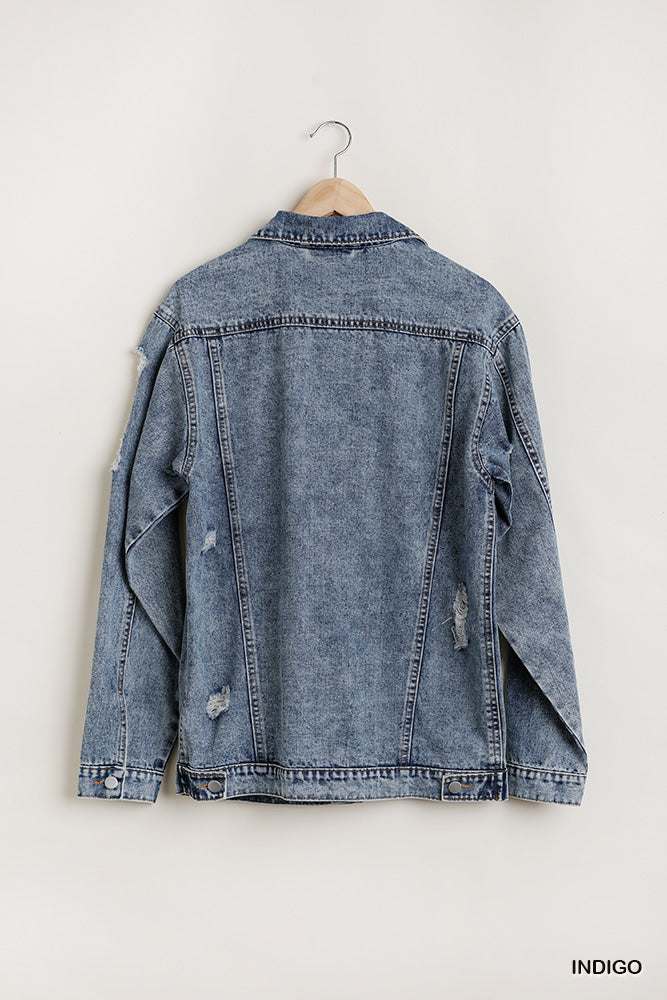 Curvy Distressed Denim Jacket
