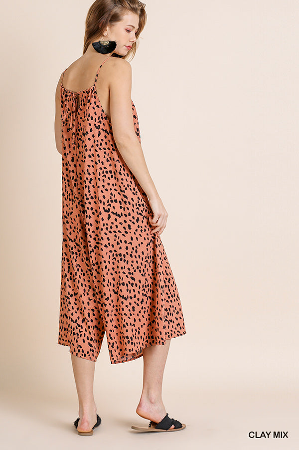 Wide Leg Dot Print Jumpsuit