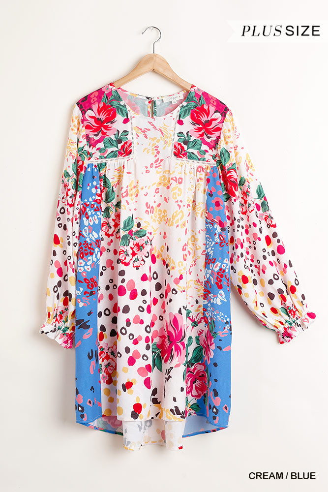 Curvy Mixed Print Shift Dress