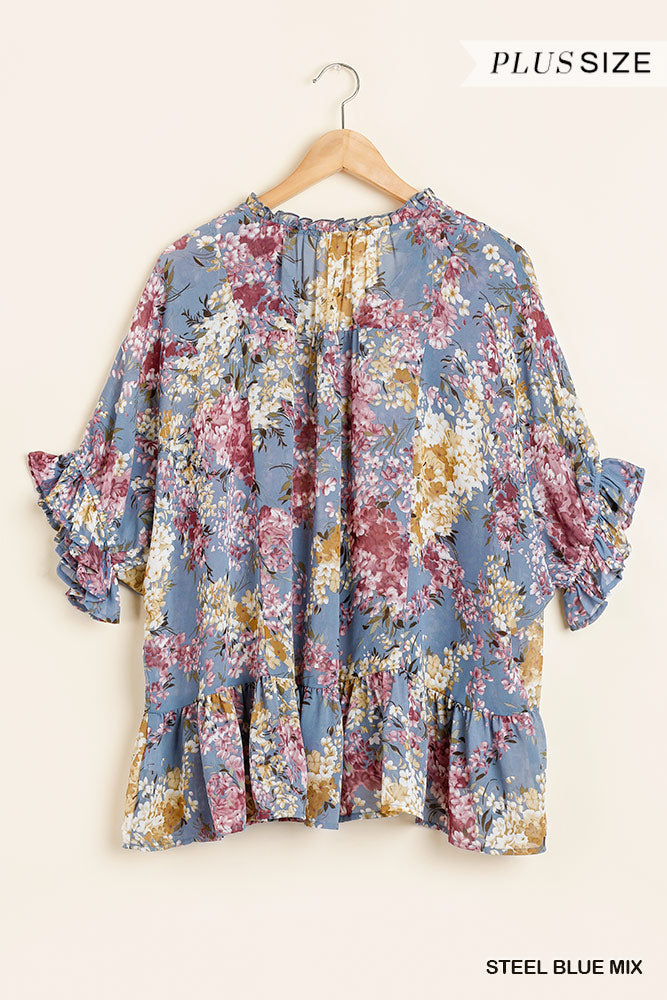 Curvy Floral V Neck Top